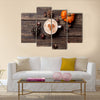 Cup of coffee with heart shape and pine cone with acorn and pumpkin Multi Panel Canvas Wall Art