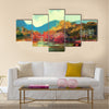 Painting of beautiful autumn forest,illustration Multi Panel Canvas Wall Art