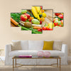 Abundance of fresh organic fruits and vegetables Multi panel canvas wall art