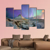 Spectacular northern lights appear over Mount Kirkjufell and waterfall in Iceland multi panel canvas wall art