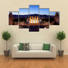 City of Barcelona by night in Catalonia Spain view from Montjuic towards Magic Fountain and Four Columns Multi panel canvas wall art