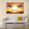 Beautiful Scenery of Military Jets Attacking UFO Multi Panel Canvas Wall Art