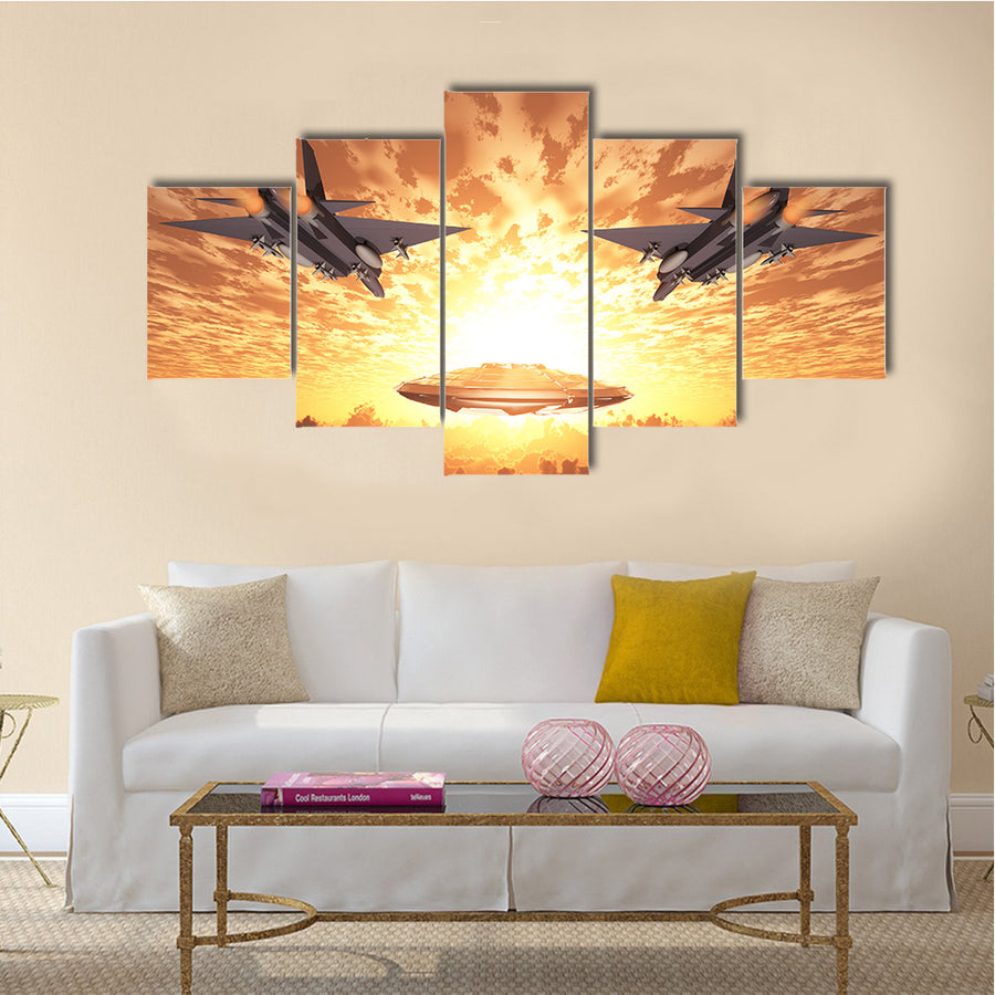 3D UFO Pursued By Military Jets Multi Panel Canvas Wall Art - Canvas ...