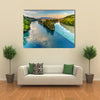 Scene Of Sunset Over Rhone And Arve River, Geneva, Switzerland, Multi Panel Canvas Wall Art