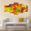 Background with autumn colorful leaves Multi panel canvas wall art