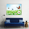 The Vector Illustration Of The Butterflies In The Spring, Multi Panel Canvas Wall Art