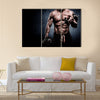 Handsome young man in shorts, doing exercises for biceps, on a dark background in the studio, Multi panel canvas wall art