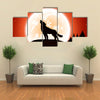 Orange Halloween night background with wolf and Moon multi panel canvas wall art