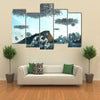 A Fleet of Spacecraft Over The Buildings Of Brazil Multi Panel Wall Art