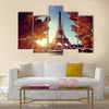 Seine in Paris with Eiffel tower in autumn time Multi panel canvas wall art