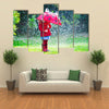 A Little Girl With Red Attire And Umbrella Enjoying The Serenity Of The Rain, Multi Panel Wall Art