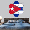 Vector illustration of Cuba flag hexagonal canvas wall art