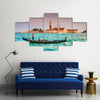 Beautiful view of traditional Gondola on Canal Grande Multi Panel Canvas Wall Art