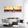 silhouette girl yoga beach sunset Panoramic Canvas Wall Art