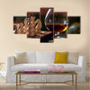 Chess-board and chess pieces, a goblet of wine multi panel canvas wall art