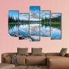 First glimpse of golden sunrise at Pyramid Lake in Jasper National Park wall art