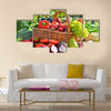 Fresh organic vegetables and fruits in the garden. Balanced diet Multi panel canvas wall art