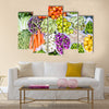 Farmers market with various domestic colorful fresh fruits and vegetable Multi panel canvas wall art
