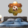 Soccer in the sunset hexagonal canvas wall art