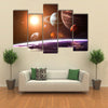 Space Objects in A Solar System Multi Panel Canvas Wall Art