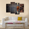 Top view of three different varieties of coffee beans Multi Panel Canvas Wall Art