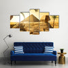 Palms near sphinx and Pyramid in Egyptian Desert Multi Panel Canvas Wall Art