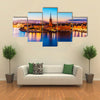 Scenic summer night panorama of the Old Town Gamla Stan architecture pier in Stockholm, Sweden Multi Panel Canvas Wall Art