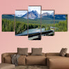 Train in Canadian Rockies Multi panel canvas wall art