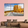 Autumn landscape with road and red car, New Zealand wall art
