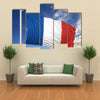 Waving Flag Of France On Flagpole Under Blue Sky Multi Panel Canvas Wall Art