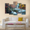 Beautiful waterfall in autumn forest in crimean mountains at sunset Multi Panel Canvas Wall Art