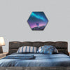 Couple standing against the Milky Way  hexagonal canvas wall art