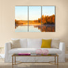 View of a lake with mist at dawn in the autumn, Sweden wall art