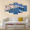 Aerial view on the vessels in the harbor of the Greek city Multi Panel Canvas Wall Art