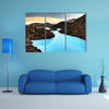 A Blue lagoon waters in the lava field landscape of Iceland in winter, HDR multi panel canvas wall art