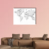 3D world map isolated with clipping path multi panel canvas wall art