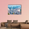 Heavy traffic close-up on bridge with graceful curve shape, canvas wall art