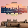 Evening view on Budapest from river to the bridge multi panel canvas wall art