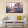 Love couple in winter landscape with huge moon above Multi Panel Canvas Wall Art