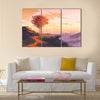 Landscape painting of melting autumn tree on top of the mountain Multi Panel Canvas Wall Art