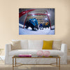 Ice hockey goalkeeper player on goal Multi panel canvas wall art