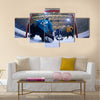 Ice hockey goalkeeper player on goal in action Multi panel canvas wall art