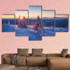 Frosty morning in mountains, Landscape with the rising sun canvas wall art