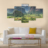 Panoramic View Over Landscape With Mogotes In Vinales Valley, Cuba Multi Panel Canvas Wall Art