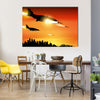 Military Jets Shooting At The Ground Multi Panel Canvas Wall Art