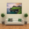 Gasaduler Village Giving Cool Scene Of An Iconic Waterfall In Faroe Island, Denmark, Multi Panel Canvas Wall Art