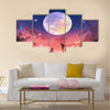 Young woman with dog at beautiful night with huge moon above Multi Panel Canvas Wall Art