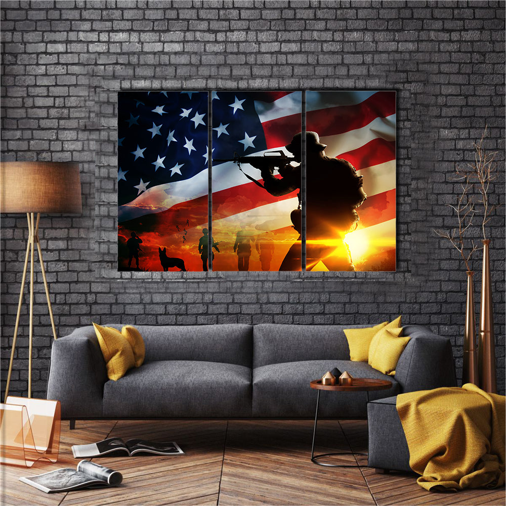 Silhouette Of A Soldier At Sunset Multi Panel Canvas Wall Art