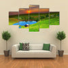 Tea plantation on central highland in Vietnam Multi panel canvas wall art