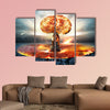 Danger of nuclear war illustration with multiple explosions multi panel canvas wall art